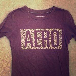 maroon Aeropostale's shirt